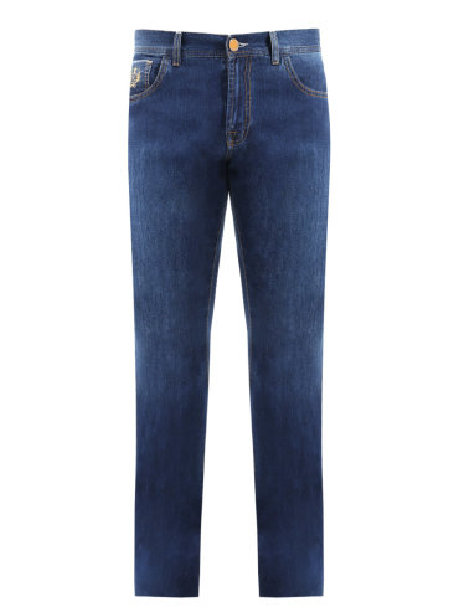 Хлопковые джинсы прямого кроя