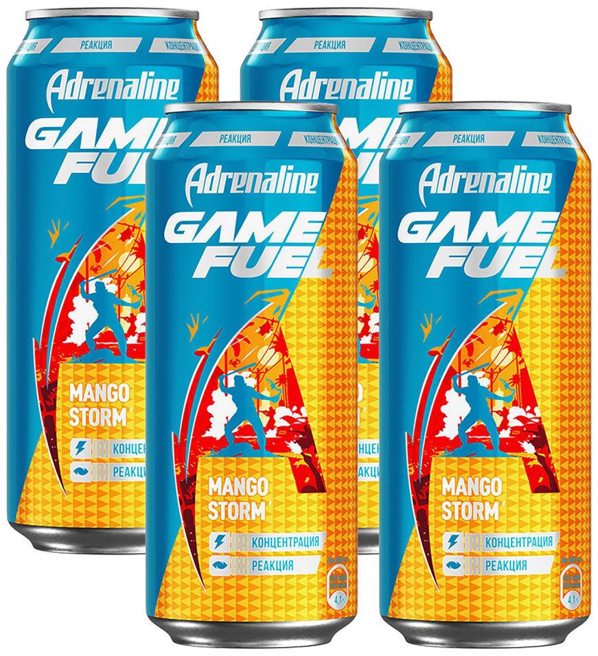 Напиток Adrenaline Game Fuel Манго энергетический 449мл (упаковка 4 шт.)