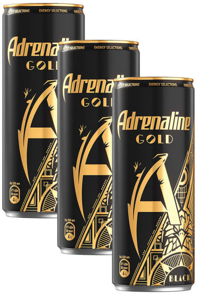 Напиток Adrenaline Gold Black  энергетический Шоколад-Корица-Орех 330мл (упаковка 3 шт.)