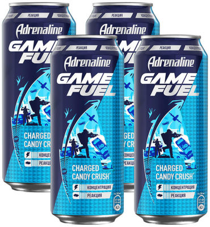 Напиток Adrenaline Game Fuel энергетический 449мл (упаковка 4 шт.)