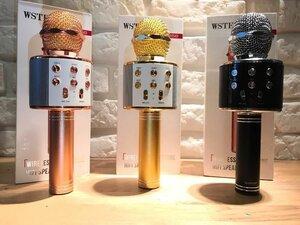 Беспроводной караоке микрофон со встроенной колонкой Розовый