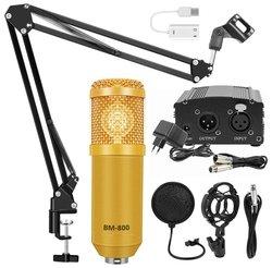 Комплект: конденсаторный микрофон BM800 (золотой), фантомное питание, кабель XLR, подставка